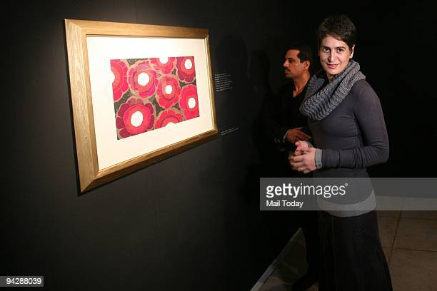Priyanka Gandhi Vadra with her husband Robert Vadra during an exhibition of Paintings of Namrita Bachchan at Palette Art Gallery.