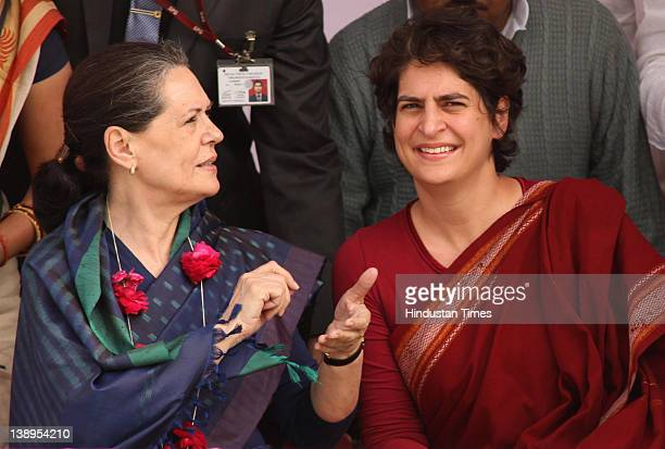 Priyanka Gandhi Vadra with her mother Sonia Gandhi attend a political rally together on February 14 2012 in Rae Bareli India Sharing the dais for the...