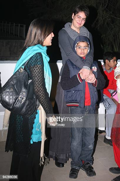 Priyanka Gandhi Vadra with her son Rehan during an exhibition of Paintings of Namrita Bachchan at Palette Art Gallery