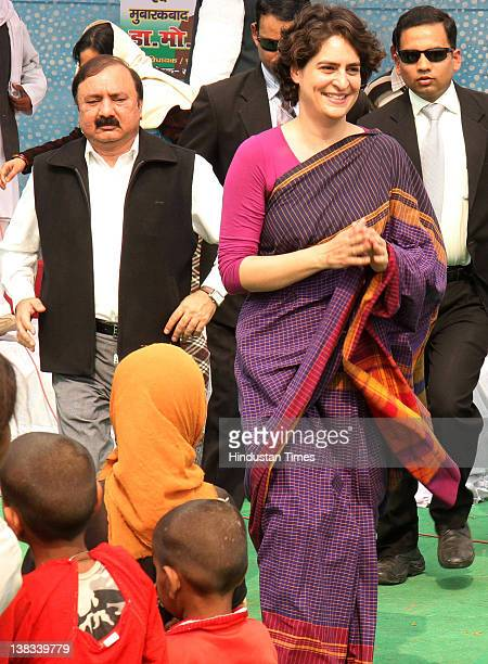 Priyanka GandhiVadra daughter of Congress President Sonia Gandhi smiles as she campaigns for Congress candidates at Simrauta on February 5 2012 in...