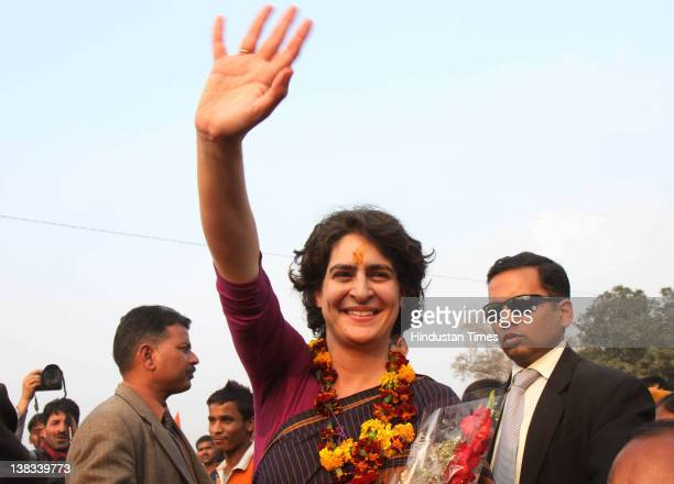 Priyanka Gandhi-Vadra, daughter of Congress President Sonia Gandhi, campaigns for Congress candidates at Simrauta on February 5, 2012 in Amethi,...