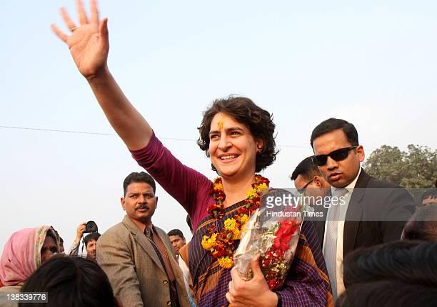 Priyanka GandhiVadra daughter of Congress President Sonia Gandhi campaigns for Congress candidates at Simrauta on February 5 2012 in Amethi India...