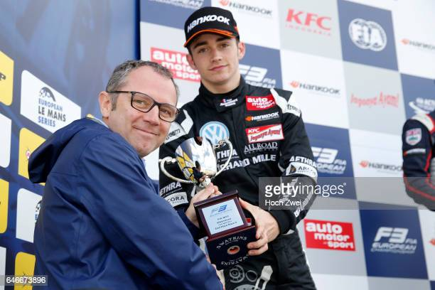 Prize giving ceremony 7 Charles Leclerc getting the trophy of Stefano Domenicali FIA Formula 3 European Championship round 1 race 2 Silverstone 10 12...