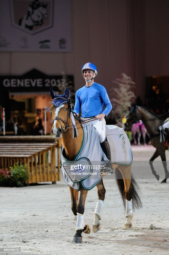 prize giving cerimony for Karim Florent LAGHOUAG, of France, riding Punch de l'Esques, during the Cross Indoor sponsored by Tribune de Genève , Rolex Grand Slam Geneva 2017