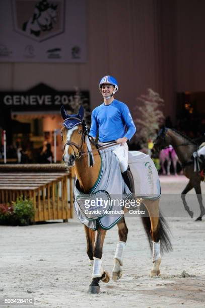 prize giving cerimony for Karim Florent LAGHOUAG of France riding Punch de l'Esques during the Cross Indoor sponsored by Tribune de Genève Rolex...