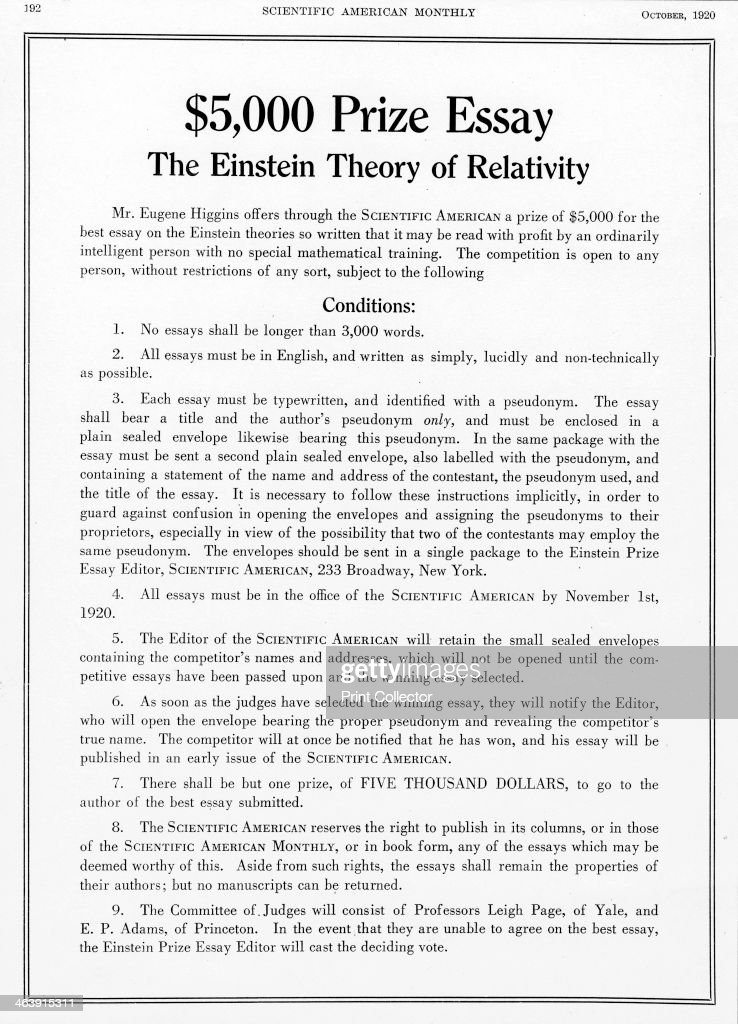 Prize Offered In Scientific American For An Essay On Einsteins  Prize Offered In Scientific American October  For An Essay On  Einsteins Theory Of Cheap Custom also How To Write Science Essay  What Is Custom Writing Services