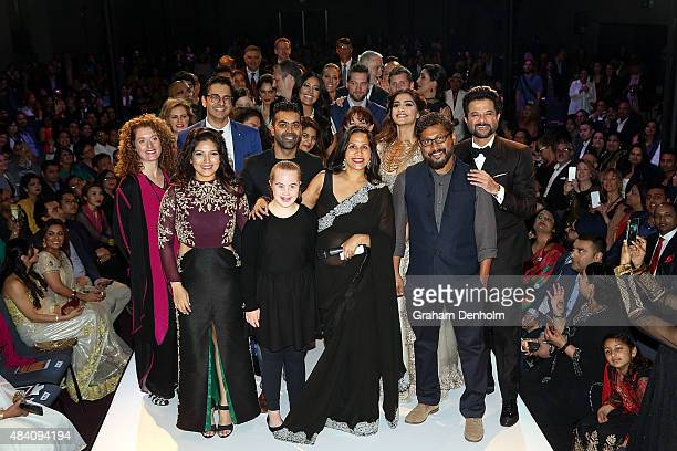 Prize winners organisers and sponsors pose during the Indian Film Festival of Melbourne Awards Night at National Gallery of Victoria on August 15...