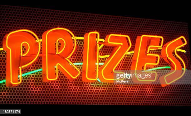 Prizes, a multicolored neon sign