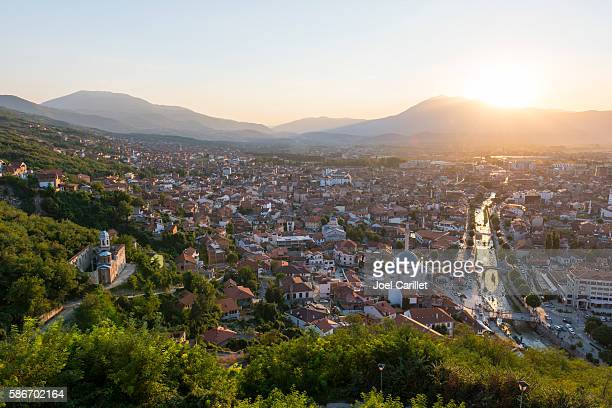 Prizren, Kosovo cityscape at sunset