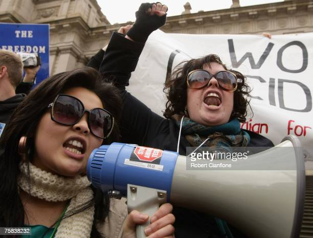 Pro abortion protesters attempt to drown out speakers of Pro Life Australia during a protest on the steps of Parliment House on July 28 2007 in...