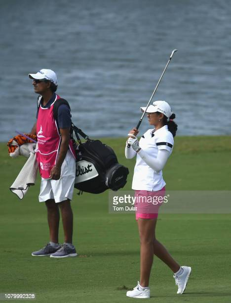 Pro Aditi Ashok and her father in action on 18th fairway on Day One of the Fatima Bint Mubarak Ladies Open at Saadiyat Beach Golf Club on January 10...