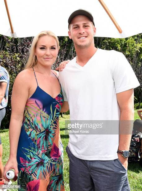 Pro alpine ski racer Lindsey Vonn and NFL player Jared Goff at the Red Bull Summer Edition Launch Party on June 17 2017 in Beverly Hills California