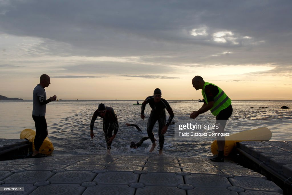 Pro athletes compete during the swim leg of the men race of IRONMAN 70.3 Dublin on August 20, 2017 in Dublin, Ireland.