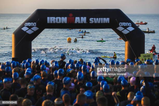Pro athletes start the swimming course of the IRONMAN Barcelona on September 30 2017 in Calella Barcelona province Spain