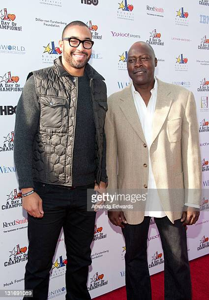 Pro baseball player Matt Kemp and former pro baseball player Dave Stewart arrive the Yahoo Sports Presents A Day Of Champions event at the Sports...