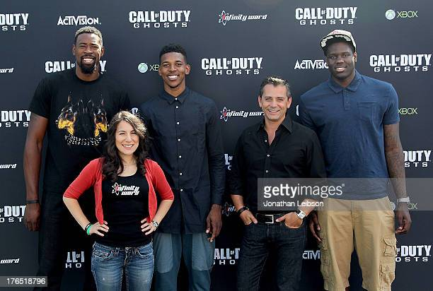 Pro Basketball Player DeAndre Jordan of the LA Clippers Senior Community Manager Infinity Ward Tina Palacios Pro Basketball Player Nick Young of the...