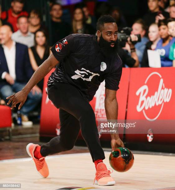 Pro basketball player James Harden attends the State Farm Chris Paul PBA Celebrity Invitational at the Bowlero Woodlands on November 30 2017 in The...
