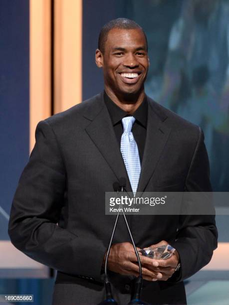 Pro basketball player Jason Collins speaks onstage after receiving the Inspirational Athlete of the Year Award at the 28th Anniversary Sports...