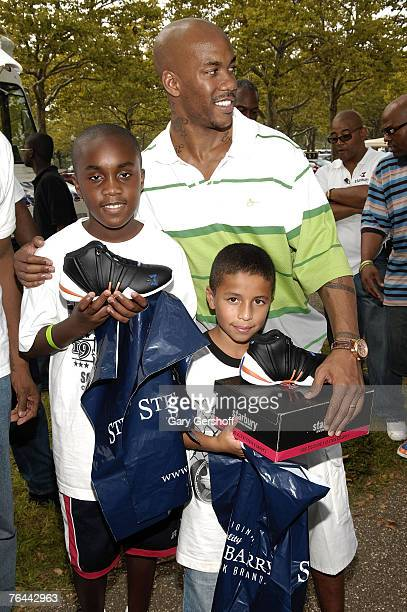 Pro Basketball Player Stephon Marbury with Aaron Jean and John Nunez at The New York Call and Youth Xplosion Starbury Giveback Day on August 31 2007...