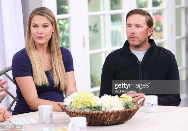 Pro Beach Volleyball Player Morgan Beck and Olympic Skier Bode Miller visit Hallmark's Home Family at Universal Studios Hollywood on July 30 2019 in...