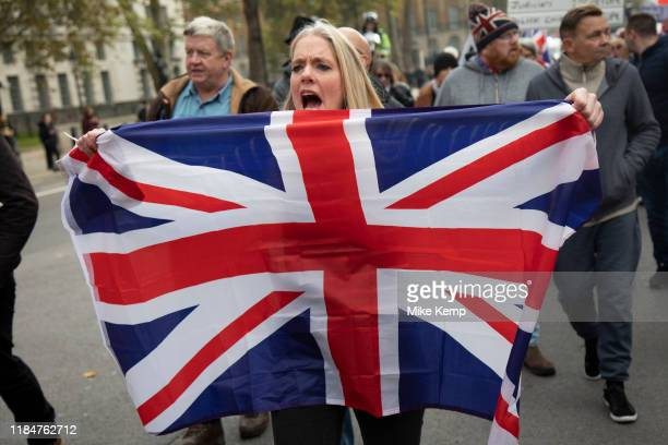 Pro Brexit anti European Union Leave protesters demonstrating in Westminster on what prior to another Brexit Day extension would have been the day...