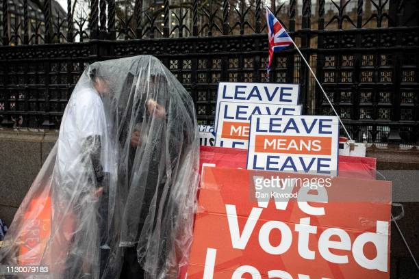 Pro Brexit demonstrators hide from rain under plastic sheeting outside the Houses of Parliament ahead of the meaningful vote on March 12 2019 in...