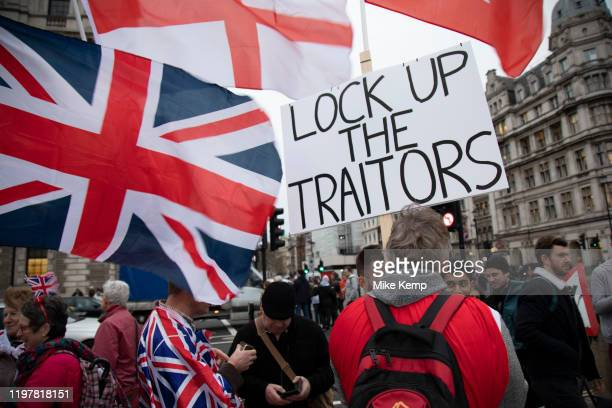 Pro Brexit Leave supporters gather in Westminster on Brexit Day as the UK prepares to leave the European Union on 31st January 2020 in London England...