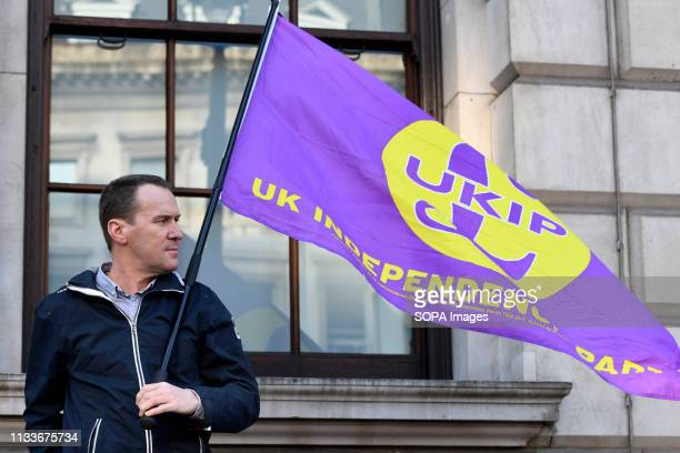 A pro Brexit protester and UKIP supporter seen carrying a UKIP flag during the Leave means leave rally in London A Leave means leave pro Brexit march...
