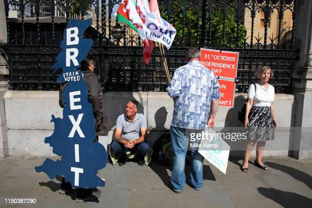 Pro Brexit protester with a Brexit map of the UK strapped to his back in Westminster as inside Parliament the Tory leadership race continues on 17th...