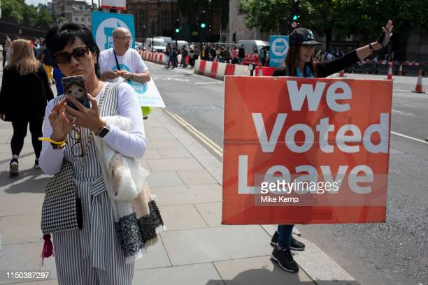 Pro Brexit protesters in Westminster as inside Parliament the Tory leadership race continues on 17th June 2019 in London England United Kingdom