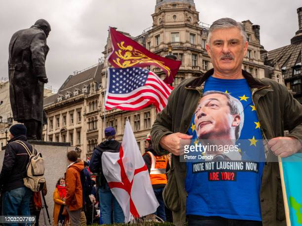 Pro Brexit supporter poses with a t-shirt with the image of Nigel Farage inside an EU flag on the front as the UK prepares to leave the European...