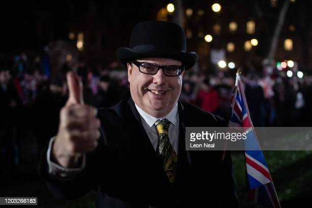 Pro Brexit supporter wears a traditional bowler hat as the United Kingdom prepares to exit the EU during the Brexit Day Celebration Party hosted by...