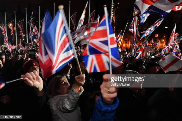 Pro Brexit supporters attend the Brexit Day Celebration Party hosted by Leave Means Leave at Parliament Square on January 31 2020 in London England...