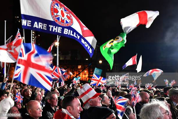 Pro Brexit supporters attend the Brexit Day Celebration Party hosted by Leave Means Leave at Parliament Square on January 31, 2020 in London,...