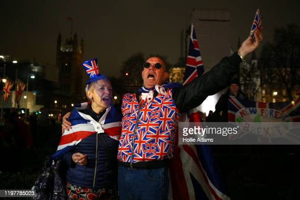 Pro Brexit supporters celebrate as people prepare for Brexit on January 31 2020 in London United Kingdom At 1100pm on Friday 31st January the UK and...