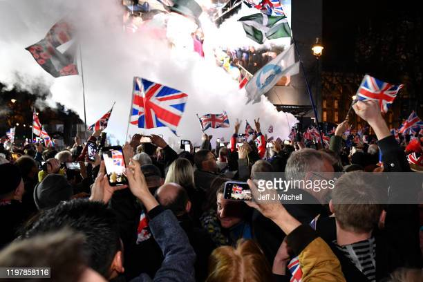 Pro Brexit supporters celebrate as the United Kingdom exits the EU during the Brexit Day Celebration Party hosted by Leave Means Leave at Parliament...