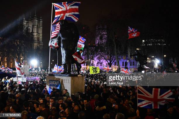 Pro Brexit supporters celebrates as the United Kingdom exits the EU during the Brexit Day Celebration Party hosted by Leave Means Leave at Parliament...