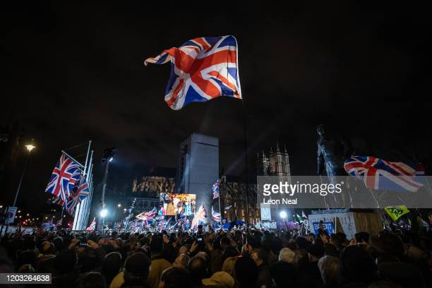 Pro Brexit supporters celebrates as the United Kingdom prepares to exit the EU during the Brexit Day Celebration Party hosted by Leave Means Leave at...