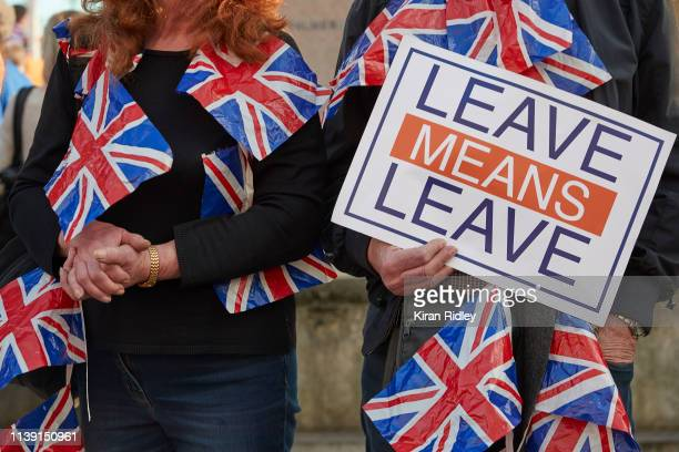 Pro Brexit supporters during protests in favour of leaving the European Union at Parliament Square on March 29 2019 in London England Today proBrexit...