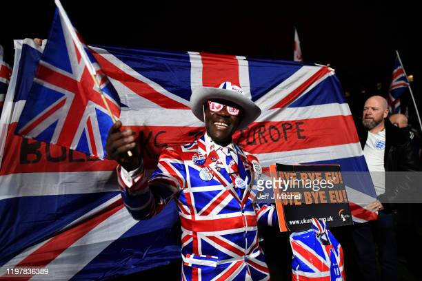 Pro Brexit supporters gather ahead of the Brexit Day Celebration Party hosted by Leave Means Leave at Parliament Square on January 31, 2020 in...