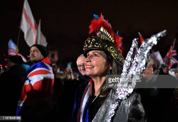 Pro Brexit supporters gather ahead of the Brexit Day Celebration Party hosted by Leave Means Leave at Parliament Square on January 31 2020 in London...