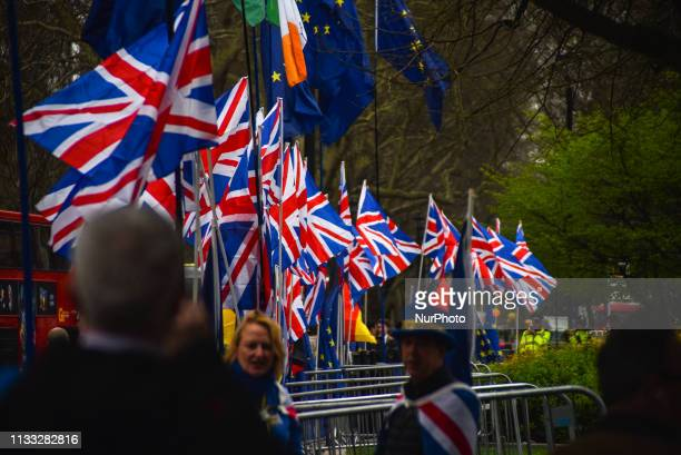 Pro Brexit supporters have put 34 Union Flags outsidethe Houses of Parliament London on March 28 2019 The Commons failed to find a majority for a way...