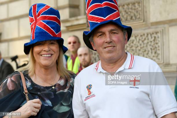 Pro Brexit supporters seen wearing blue hats with red stripes emulating the United Kingdom flag during the Leave means leave rally in London A Leave...