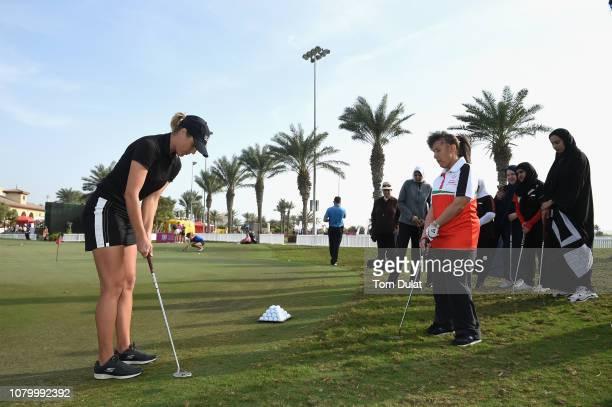 Pro Camilla Lennarth leads a golf clinic for UAE Special Olympians on Day One of the Fatima Bint Mubarak Ladies Open at Saadiyat Beach Golf Club on...