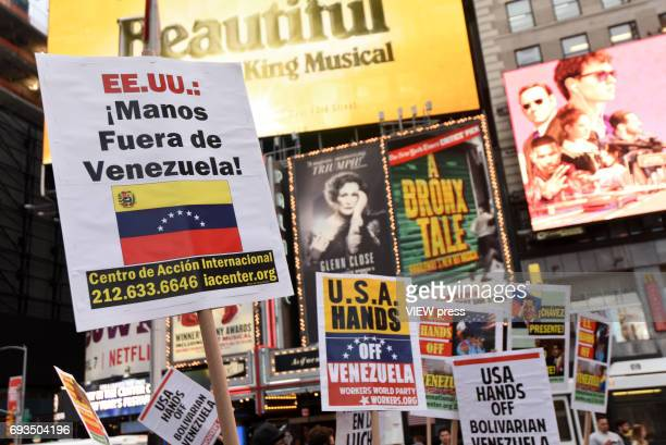 "Pro Chavez Maduro march Hands Off Venezuela"" organize by the The International Action Center in Solidarity whit Bolivarian Venezuela in Times Square..."