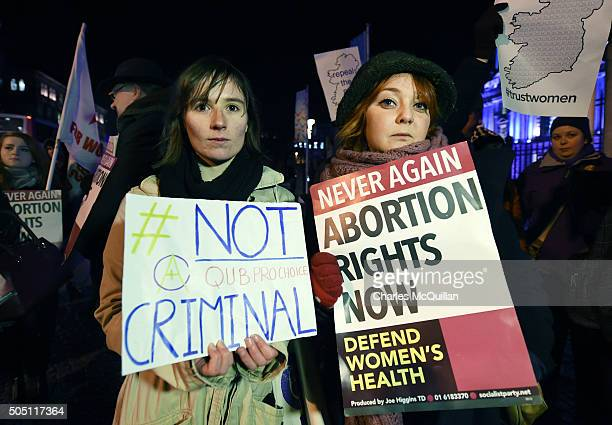 Pro Choice activists rally outside City Hall on January 15 2016 in Belfast Northern Ireland The Pro Choice activists are rallying in support of the...