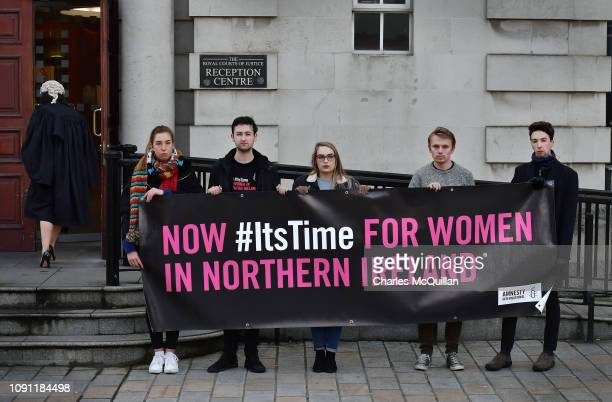 Pro choice protestors stand outside the High Court on January 30 2019 in Belfast Northern Ireland Sarah Ewart is challenging Northern Ireland's...