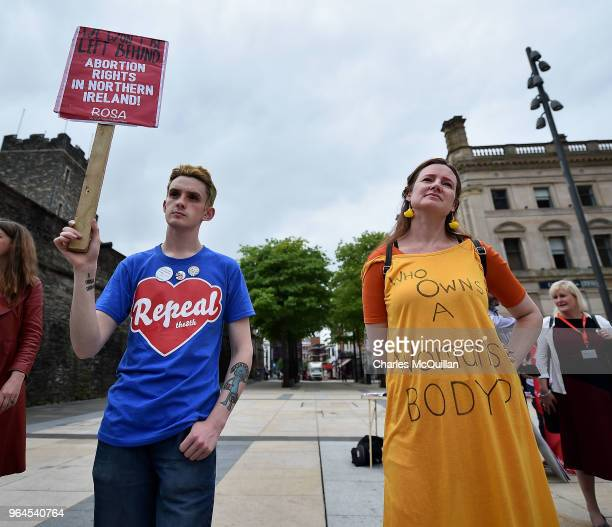 Pro Choice supporters hold placards as the abortion rights campaign group ROSA Reproductive Rights Against Oppression Sexism and Austerity holds a...