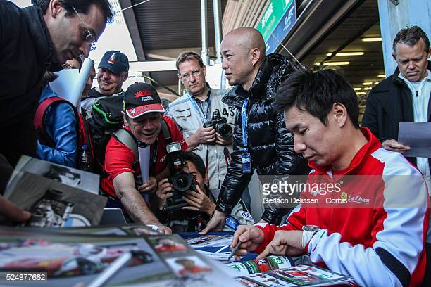 Pro class AF Corse, Ferrari 458 Italia driver Kamui Kobayashi , the fans autograph session of the WEC 6 Hours of Spa-Francorchamps, Round 2 of the...