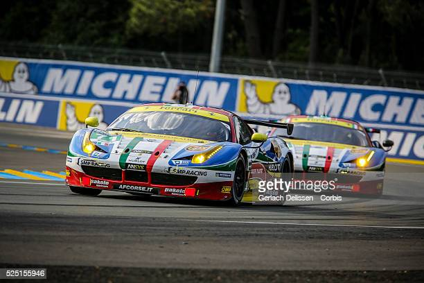 Pro class AF Corse Ferrari 458 Italia of Davide Rigon James Calado and Oliver Beretta in action during the 83rd running of the Le Mans 24 Hours June...